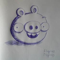 Blue ball pen pig