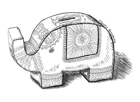 Indian elephant money bank