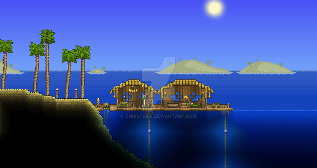 Terraria Beach House Build By Christrife On DeviantArt