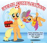 Applejack and Scootaloo - Birthday