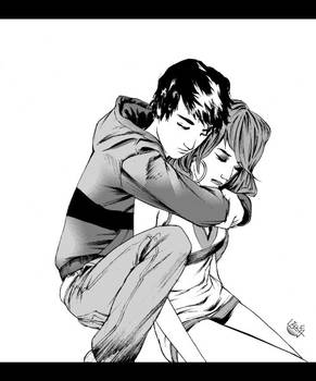 David + Alison hug
