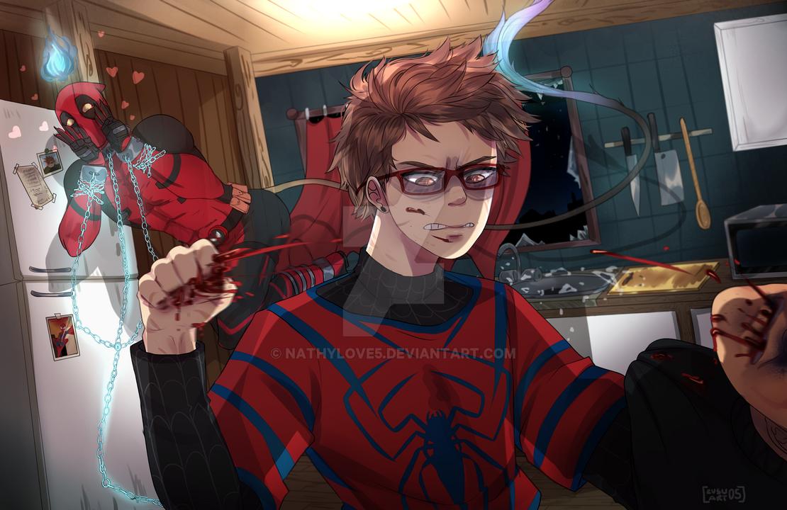 AU Spiderman y Deadpool -CO- by NathyLove5