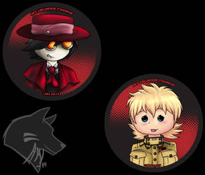 Buttons! Alu and Seras by Akiwuffle