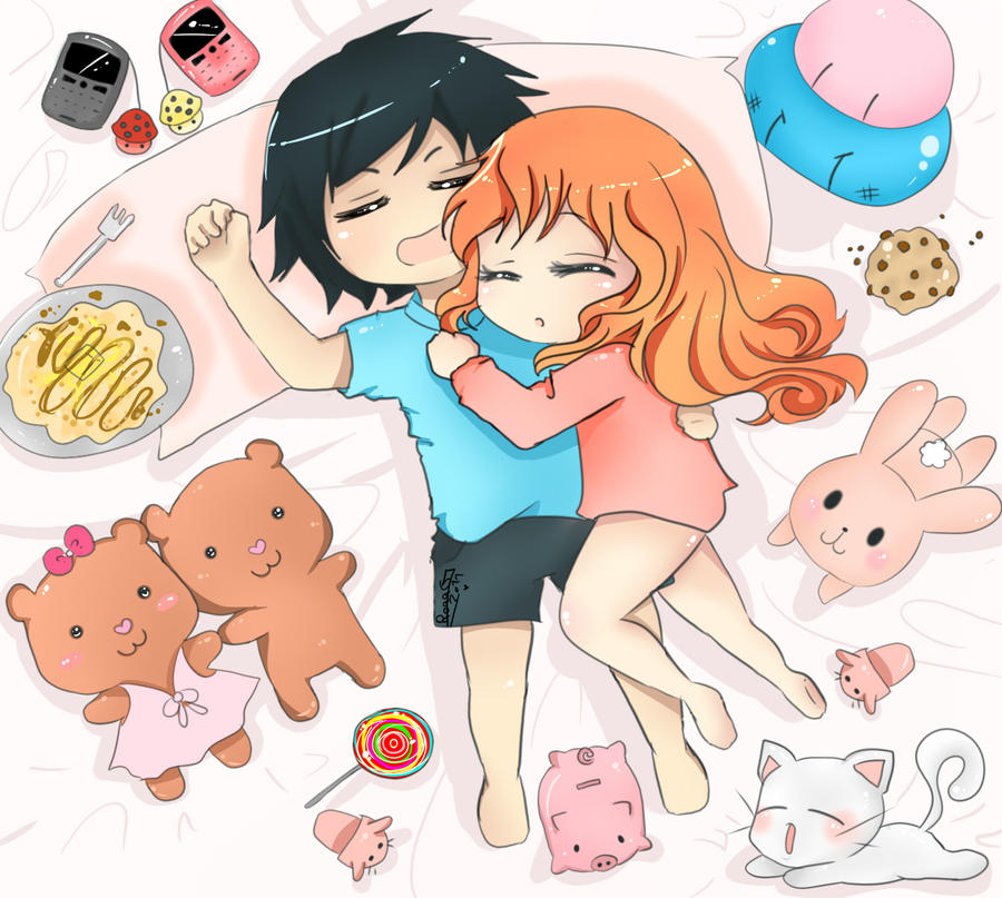 Chocolate And Strawberry Sleeping by loletta91 on DeviantArt