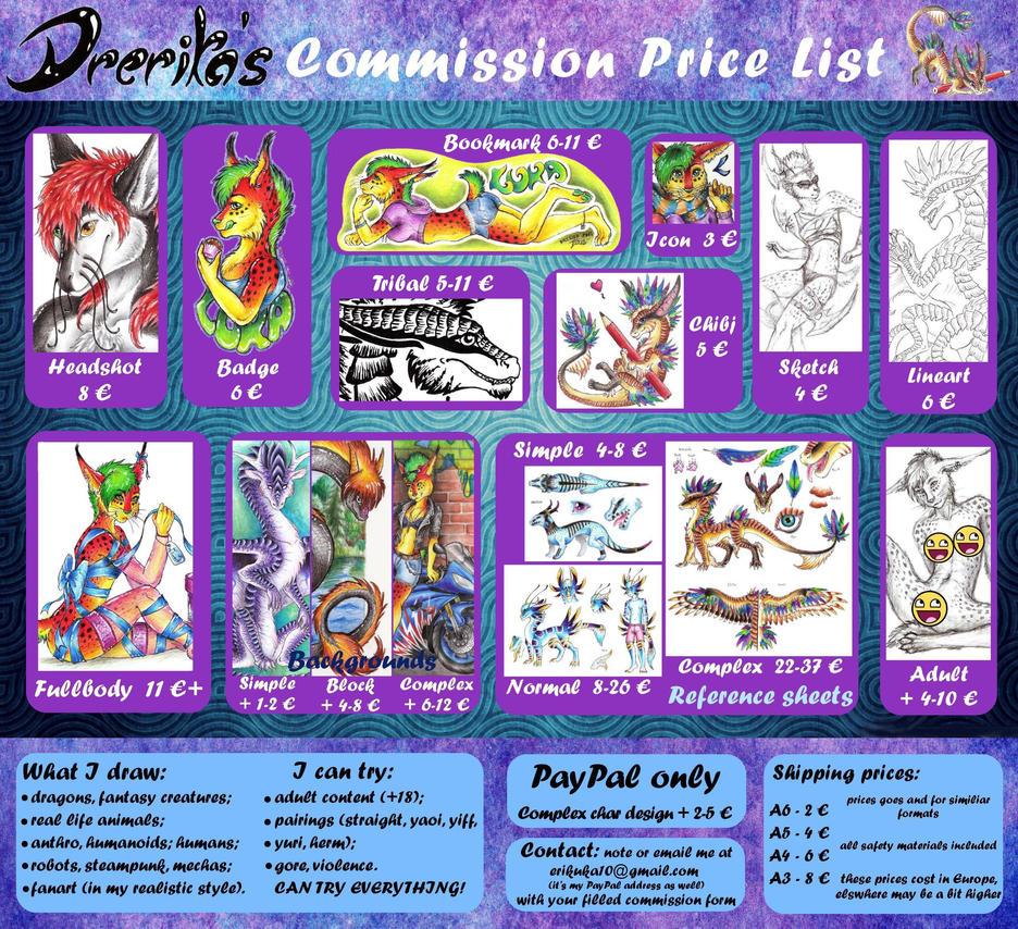 Drerika's Commission Price List by Drerika