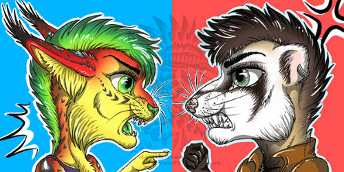 Fight of Luka and Artyom icons by Drerika