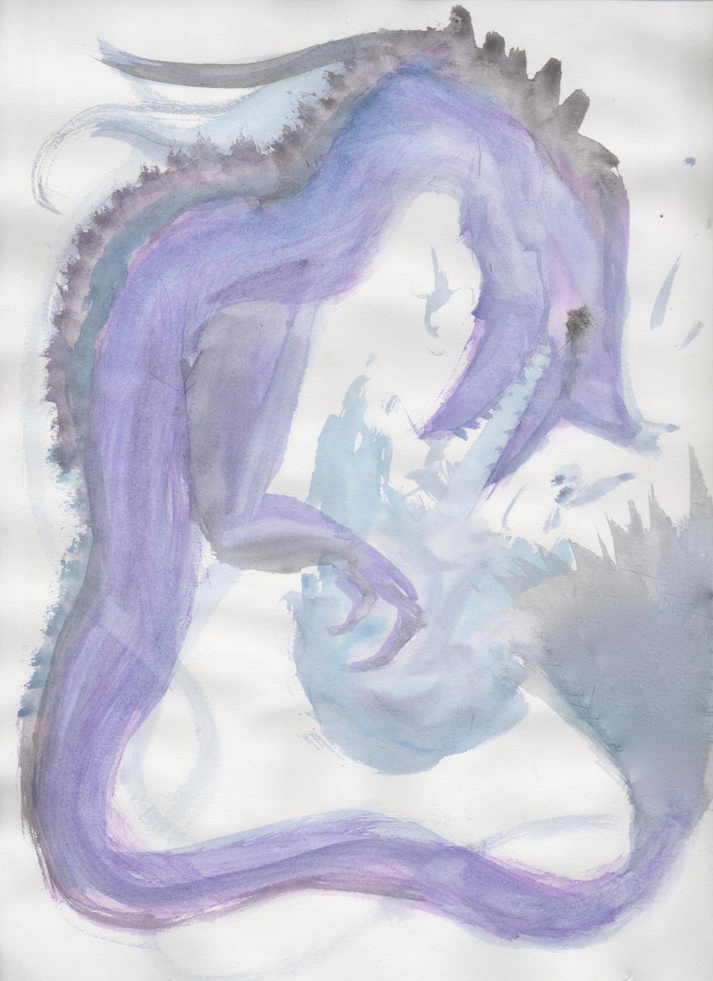 Purple Watercolor Dragon by ZacharyWolf