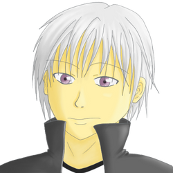 Boy with gray hair