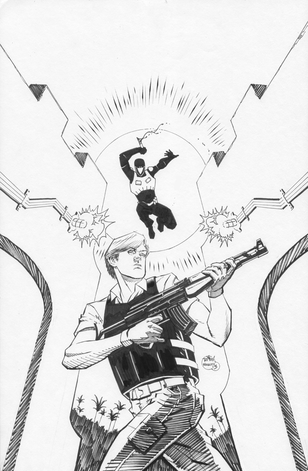 The Rise Issue 1 Cover Inks raw scan by RyanWinn