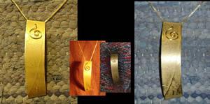spiral brass pendant