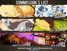 COMMISSION LIST 2014-2015 by Kairi292