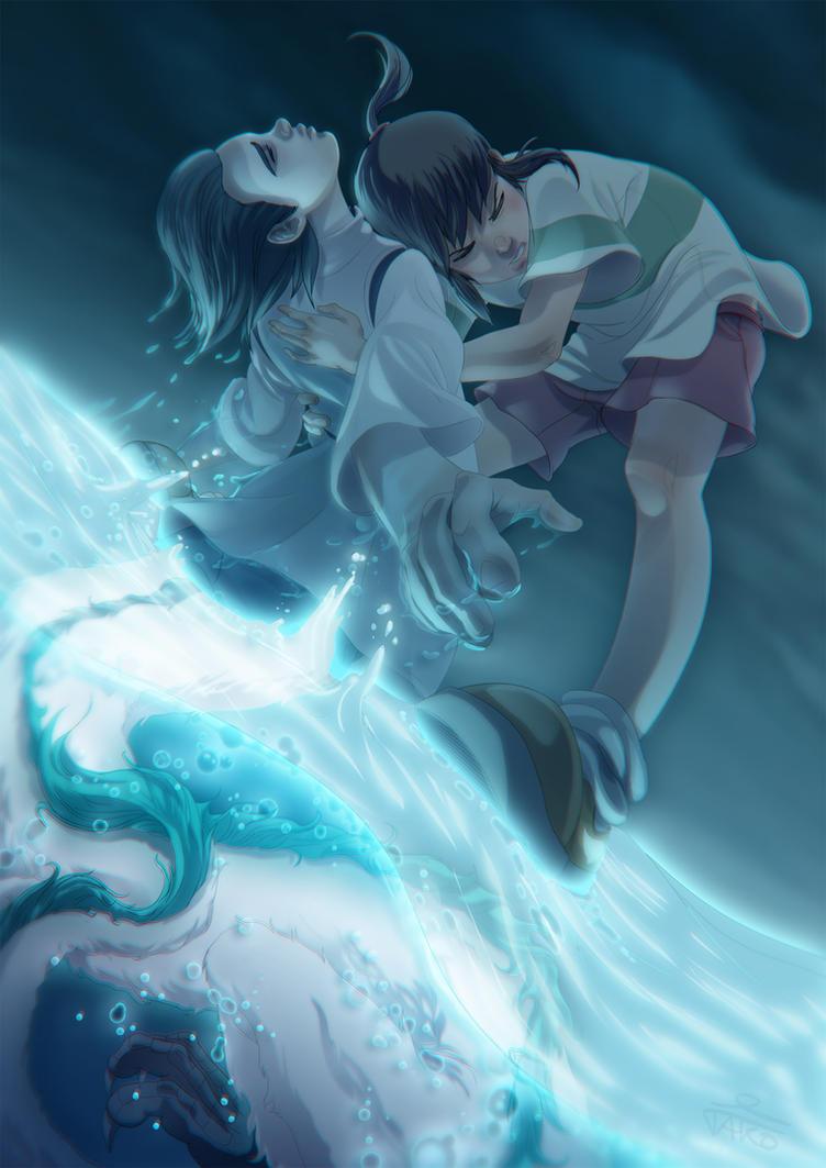 Haku and Chihiro by Tako-DNA