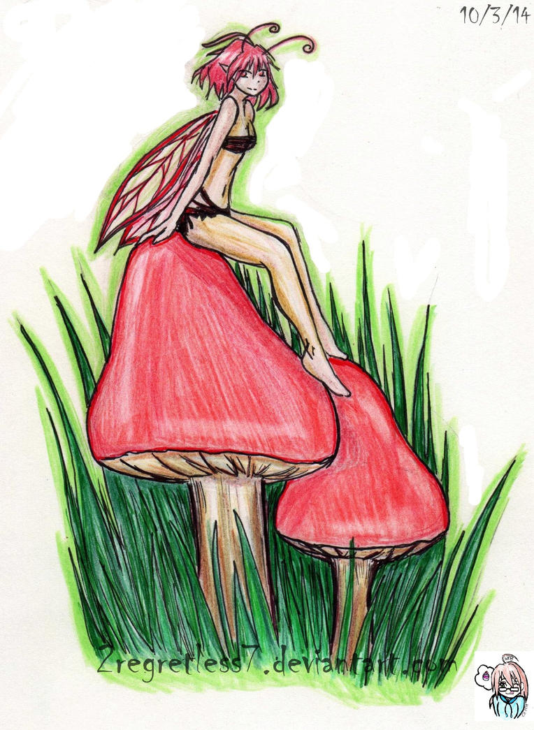 Fairy on a mushroom by 2regretless7 on deviantart for Fairy on a mushroom drawing