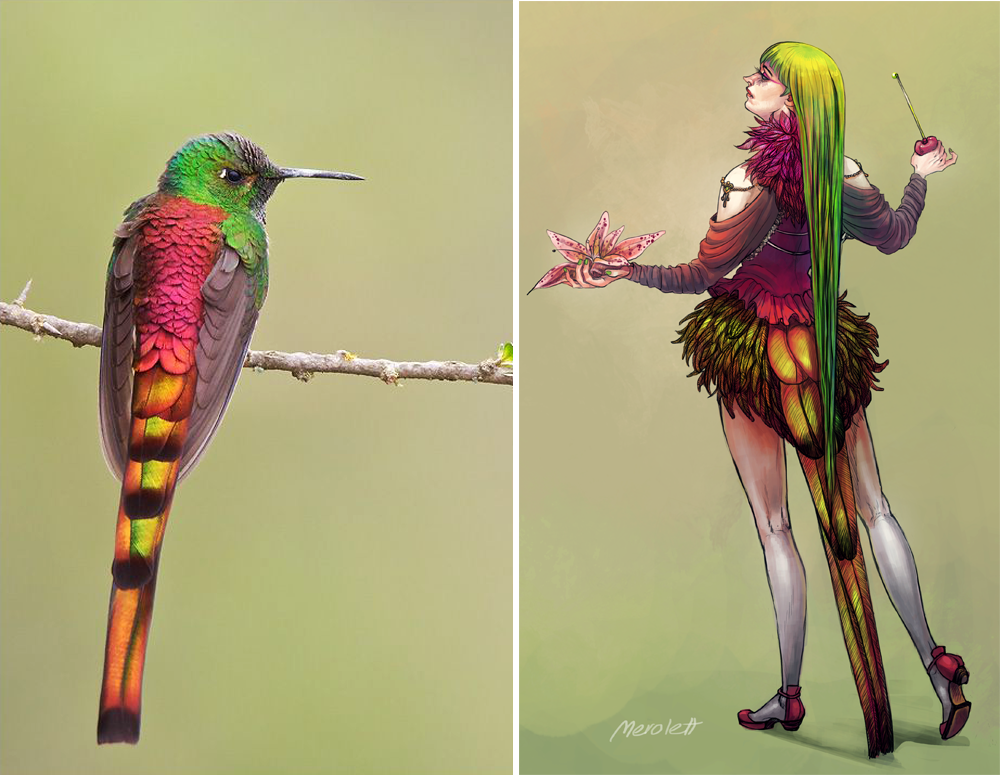 Colorful Hummingbird Lady by Merolett