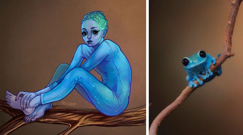 Blue Frog Girl by Merolett
