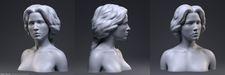 Zbrush portrait sculpture Sophie Marceau by AlexanderLee1