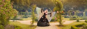 Gothic princess in the garden of the realm