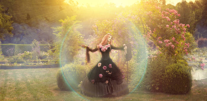Gothic princess within flowers
