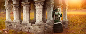 Gothic Princess in temple by sun and flowers