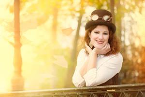 Steampunk girl in the sun