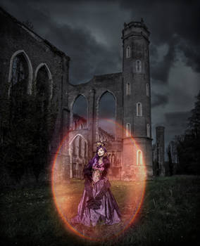 Gothic princess in an industrial cathedral