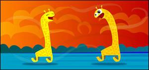 Frolicking Giraffes