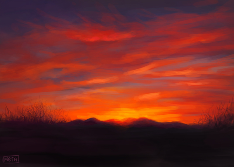 Winter Sunset Study by MikeMeth