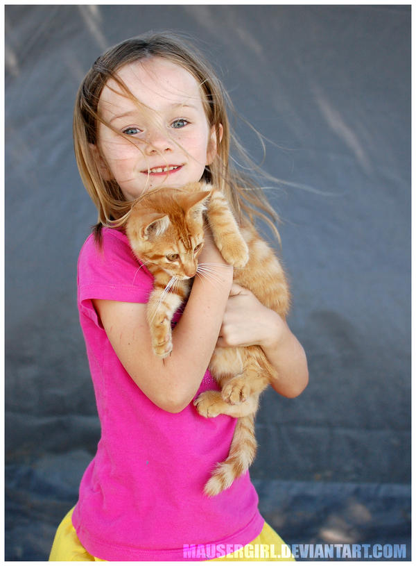 Girl with Kitten by MauserGirl