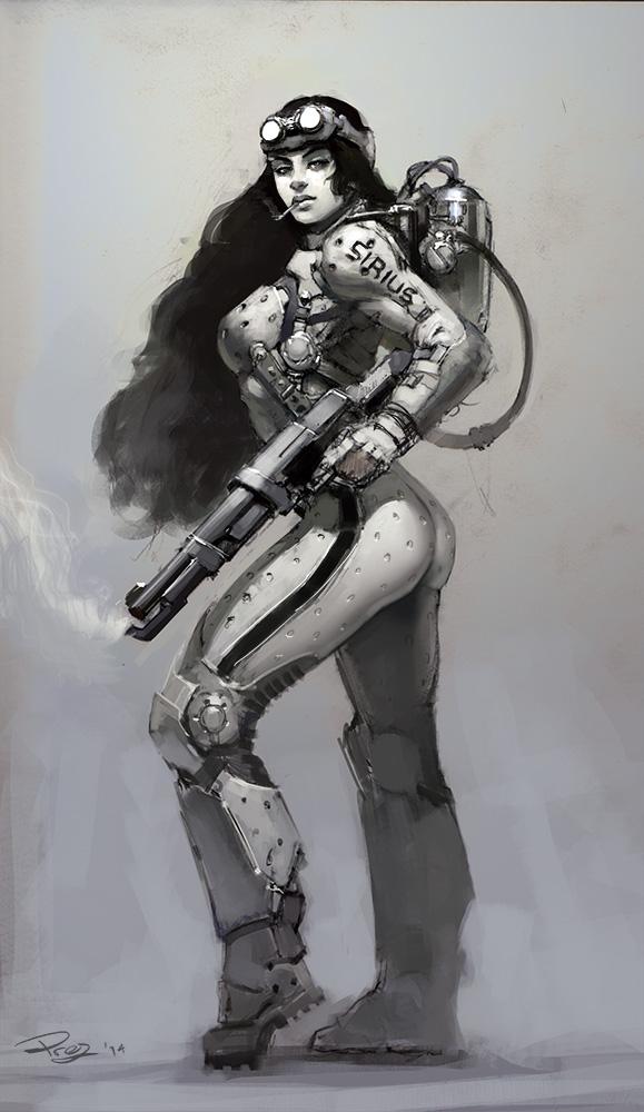 FlamethrowerGal by FirebladePrez