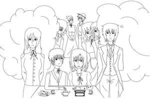 .: Tea party - Boceto :. by NaruHina1526