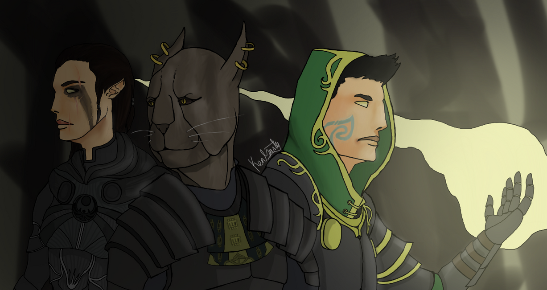 Three misfits stroll through a cave by RestlessDraugr