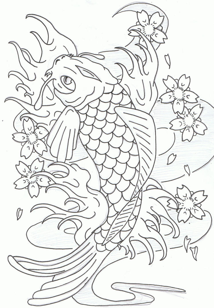 Coloring pages koi fish - Leaping Koi Fish By Heavy Metal Ink