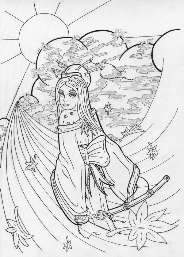 Geisha Coloring Pages. Cool Kimono Nature Scene Art Coloring Pages ...