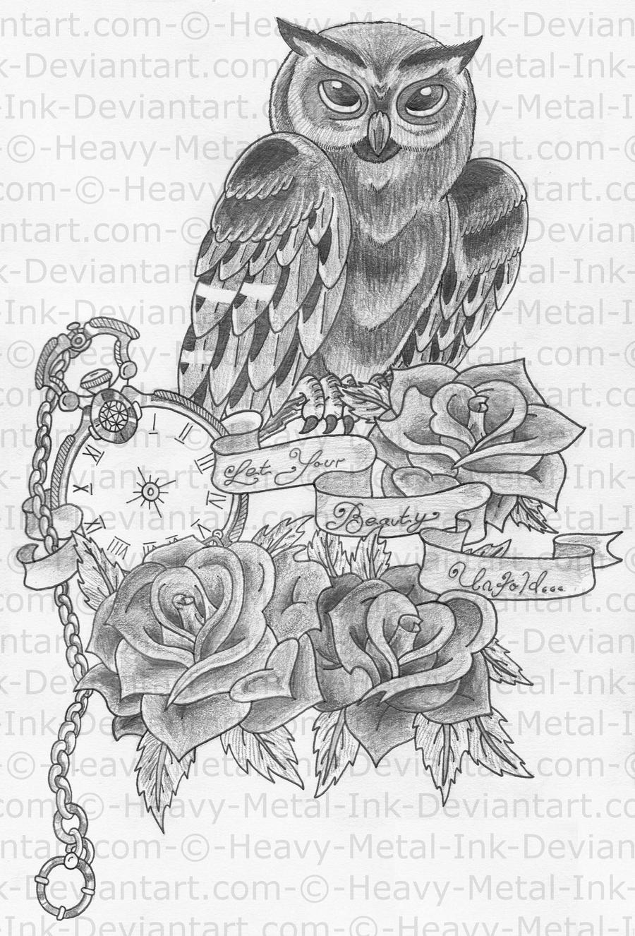 Owl half sleeve design by heavy metal ink on deviantart for Half sleeve tattoo sketches
