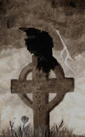 crow sitting on my grave by XxTheLostxX