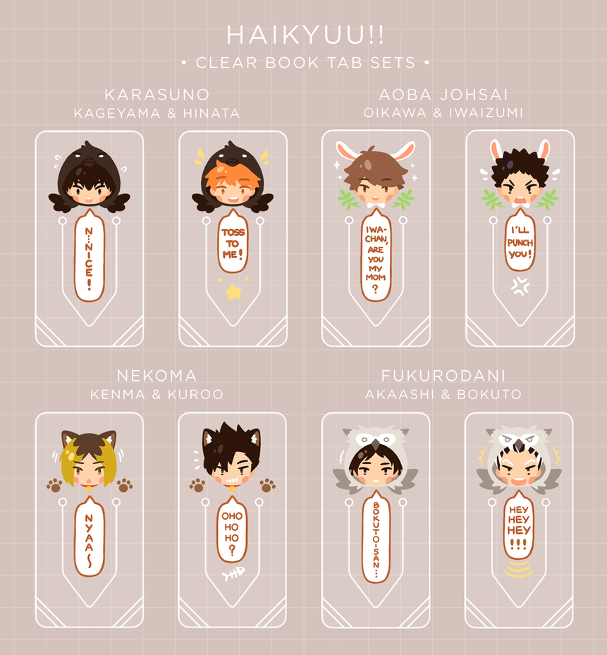 Haikyuu!!: Clear Book Tabs by Haiyun