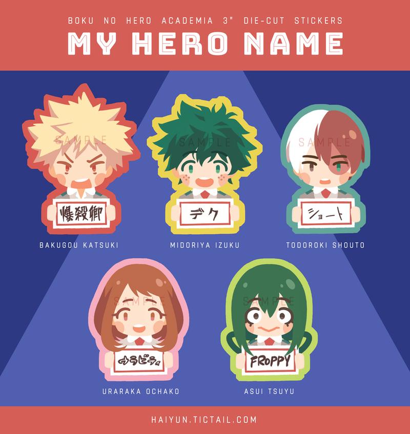 Stickers: BNHA My Hero Name by Haiyun