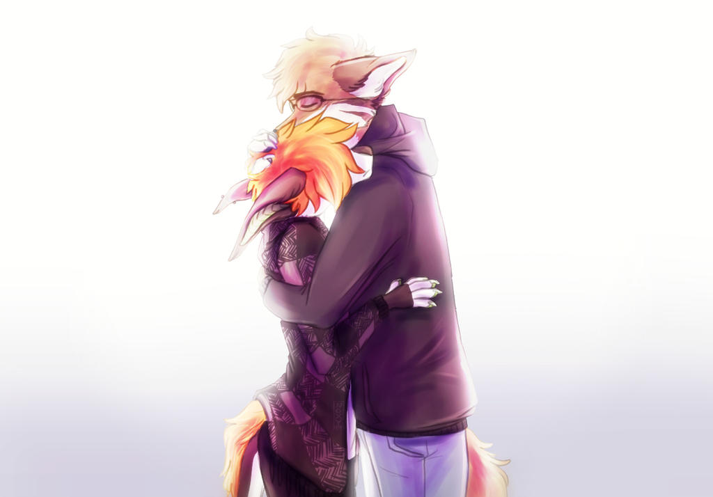 awkward sad hug by N-o-x-y