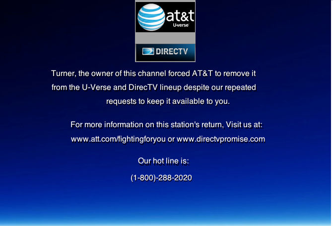 Turner Blackouts Atandt S U Verse And Directv By Buddyboy600 On Deviantart