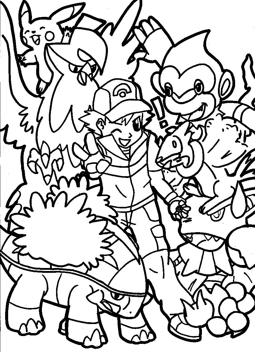 ash and pokemon line art by daydreamer73