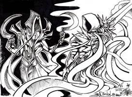 Diablo - Malthael and Tyrael by TiamatART