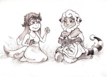 Sketch commission: Elysia and Annabelle by TiamatART