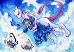 Fly with Mewtwo [AT] by TiamatART