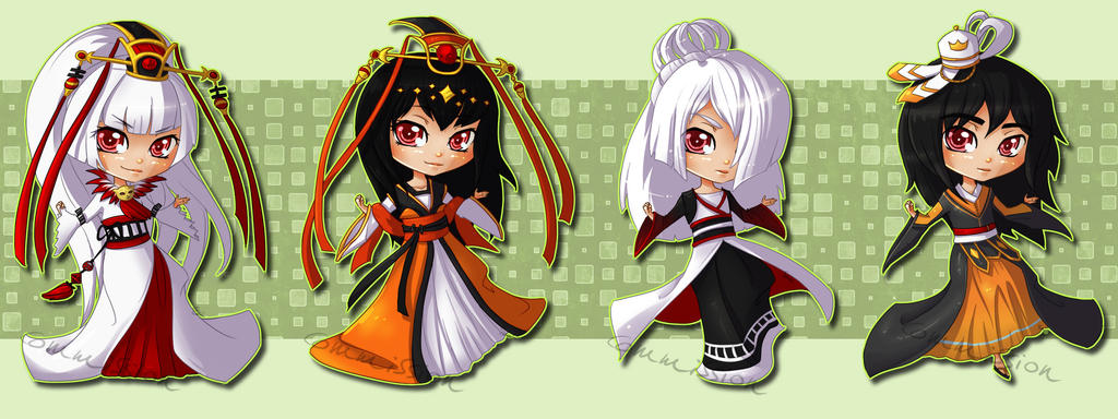 Chibi dolls for Mokoadopts by Sonten