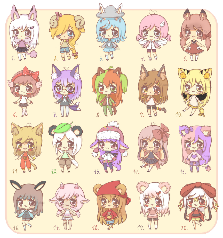 Adoptables [7/20 OPEN] by Reiuu