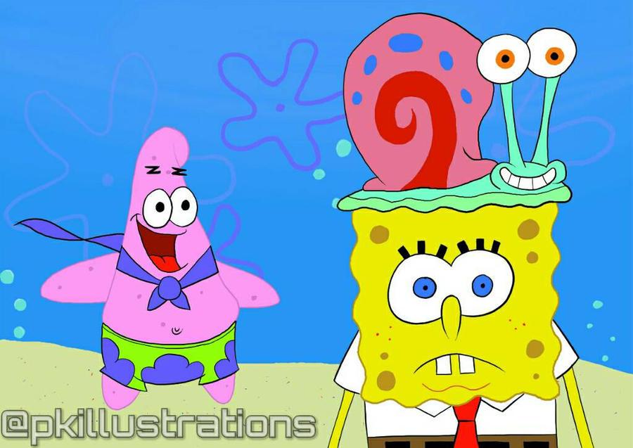 Spongebob Patrick and Gary by PKillustrations on DeviantArt