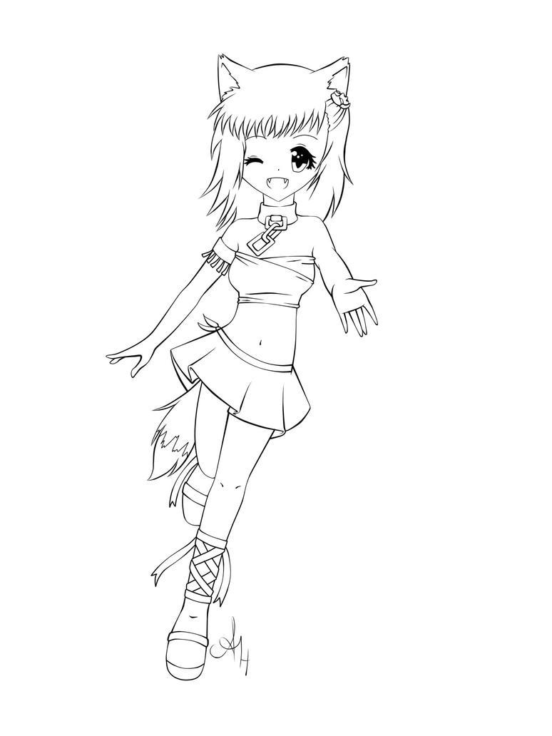 Anime Fox Girl 3 Lineart By X3Na-chan On DeviantArt