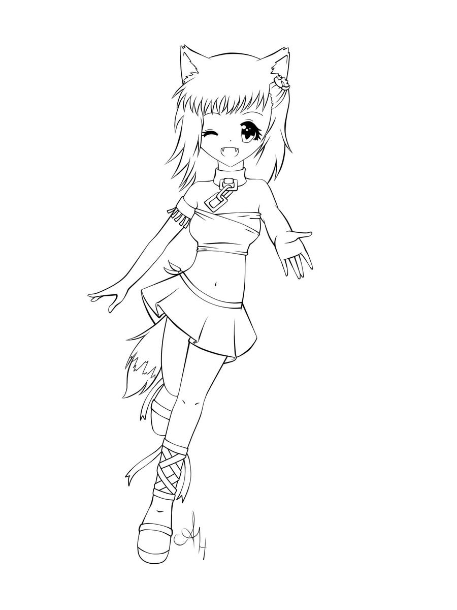 Fox Girl Drawings ColorGirlPrintable Coloring Pages Free Download