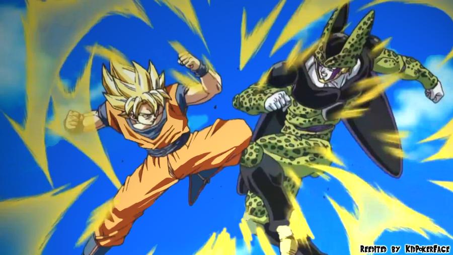 Goku SSJ vs Perfect Cell by KidPokerFace