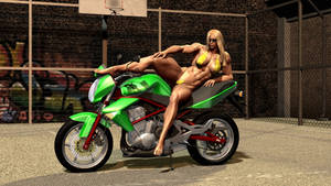 Muscle chick with bike